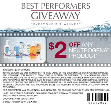 Stallex Skin Care March Promotion by Neutrogena Canada Coupon 2 Any Product Canadian