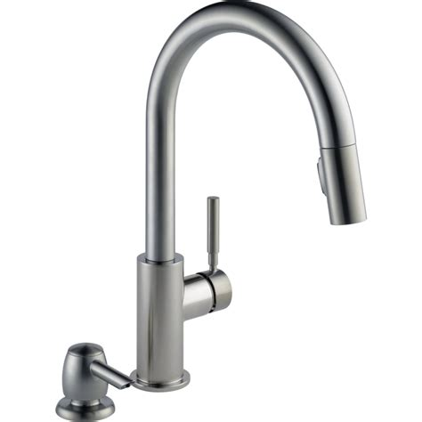 delta pull kitchen faucet shop delta trask spotshield stainless 1 handle pull