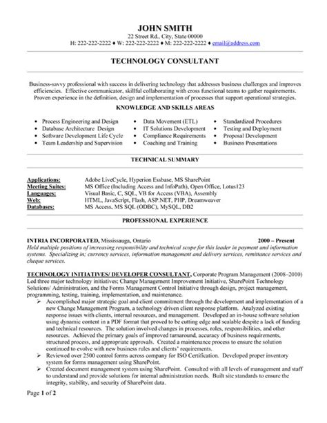 Consulting Resume by Technology Consultant Resume Template Premium Resume