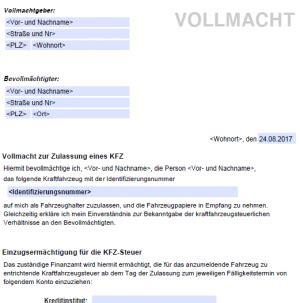 Vollmacht Zum Auto Anmelden by Vollmacht Zulassung Kfz Kostenlose Vordrucke De