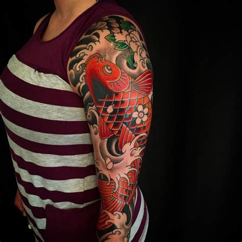 koi fish sleeve tattoo japanese koi half sleeve tattoos www pixshark