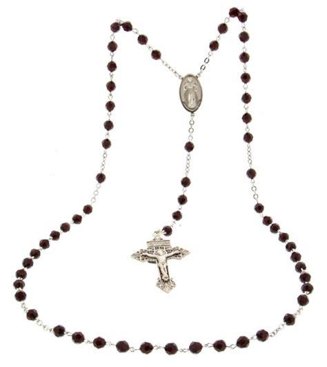 mens rosary s 7mm garnet swarovski rosary with pardon crucifix