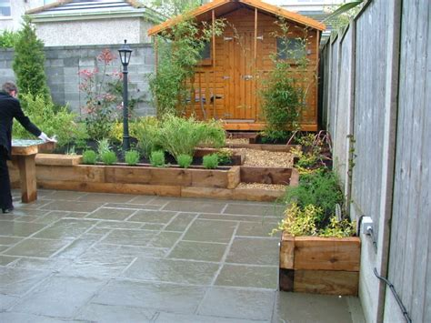 Garden Patio Design Small Garden Patio And Raised Beds Donegan Landscaping Ltd Dublin