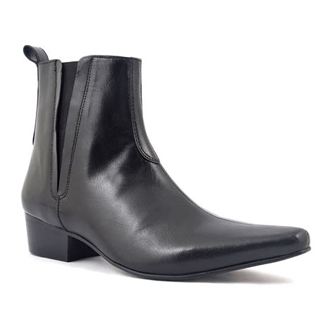 elvis black pointed heel chelsea boot gucinari