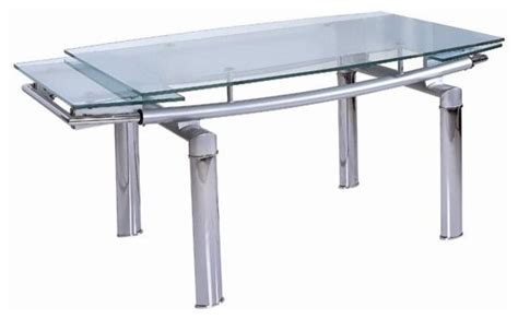 Modern Glass Dining Table With Extension Dining Table W Curved Glass Extension Top Contemporary Dining Tables By Shopladder