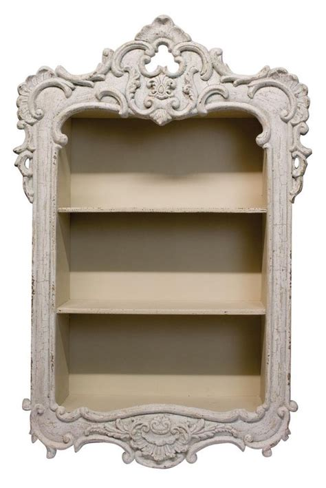 beautiful shabby chic off white french style wall storage unit shelf cut hole in wall