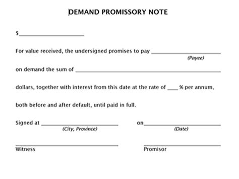 promissory note template canada true help free forms