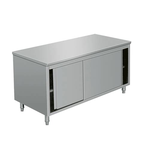 eq commercial stainless steel work prep table with cabinet