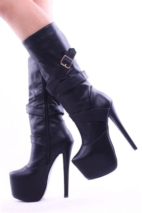 high heel motorcycle boots black faux leather knee high 6 inch platform heel boots