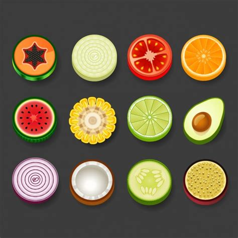 fruit rounds fruit and vegetables vector free