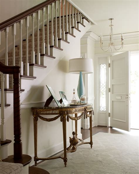 Front Hallway Table Entryway Entry Chic Floral Table Lighting Flooring Stairs Staircase Frog Hill Designs