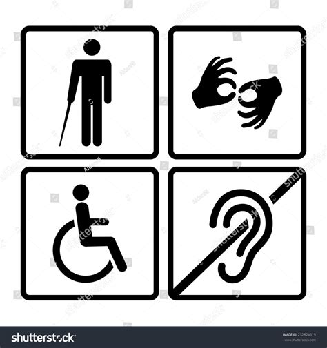 how to a deaf signals vector disabled signs deaf dumbmute blind stock vector 232824619