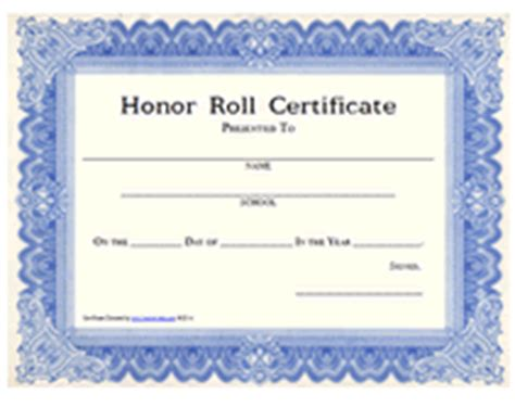 printable honor roll awards school certificates templates