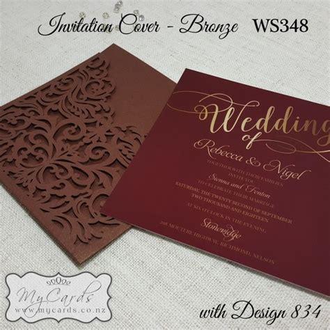 wedding invitation card cover design bronze with burgundy wedding invitation square with ws348