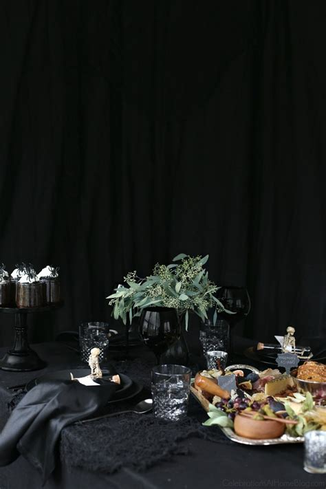 halloween themed dinner party  black celebrations  home