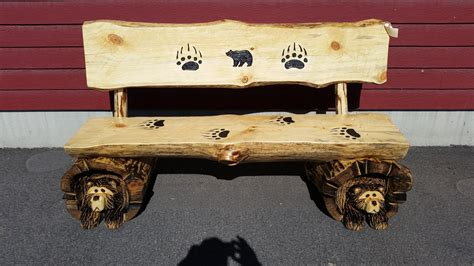chainsaw benches chainsaw carved rustic half log bear bench w back great