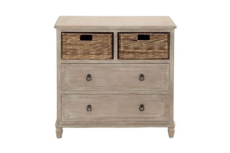 rustic country inspired 2 drawer 2 wicker basket dresser