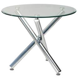 Kitchen bar dining tables demi 90cm round glass top dining table