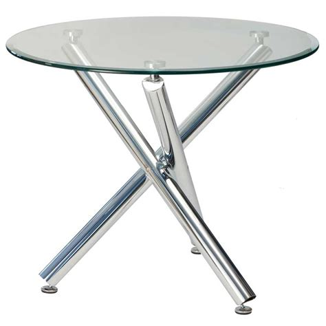Demi 90cm Round Glass Top Dining Table Decofurn Factory Shop Dining Tables Glass