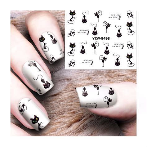nail art pattern stickers fwc cat water nail decals nail art stickers tips decal the