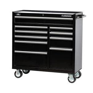 10 Inch Drawer Slides Home Depot Husky 41 In 10 Drawer Tool Cabinet Black H4116tr The