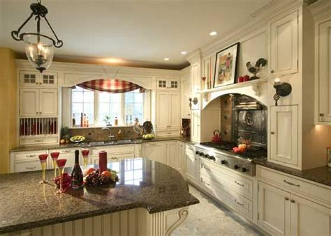 French Country Kitchen With Antique White Painted Country Kitchens With White Cabinets