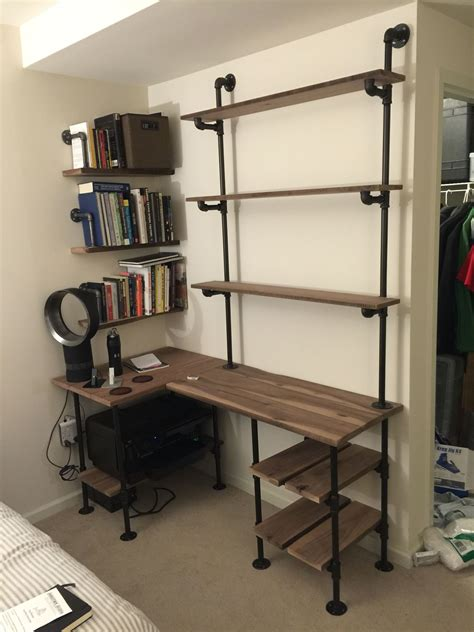 diy industrial pipe desk industrial pipe and walnut l shaped desk with shelves