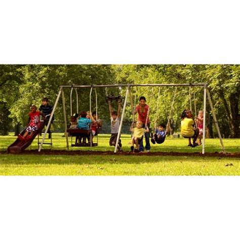 flexible flyer swing set flexible flyer play park metal swing set walmart com
