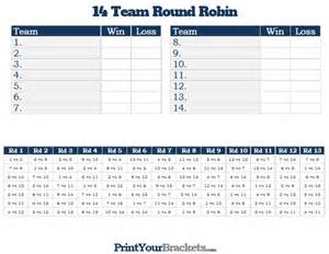 14 team round robin printable tournament bracket