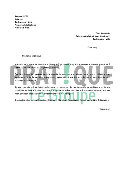 R Siliation Lettre Type lettre resiliation salle de sport 28 images exemple de