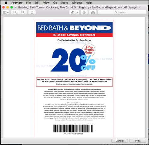 bed bath beyond discount how do i save a print only coupon on my mac ask dave taylor