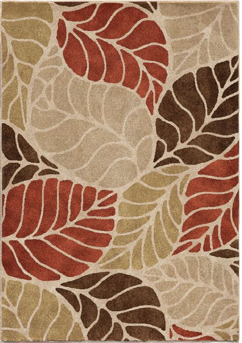 Leaf Rugs by Orian Rugs Insanely Soft Leaves Palm Overlay Beige Area