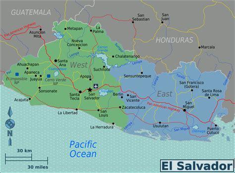 map of el salvador el salvador regions map