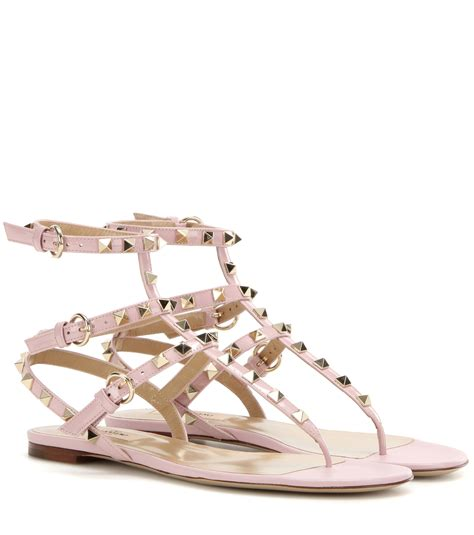 Leather Rockstud Sandals valentino rockstud patent leather sandals in pink lyst