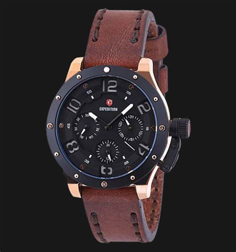 Jam Tangan Expedition New Arrival expedition exf 6381 bflbrba black brown leather