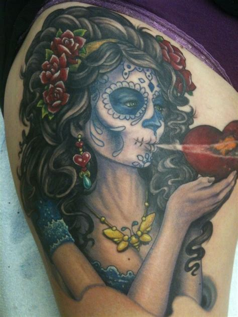 black girl tattoos black haired santa muerte with in