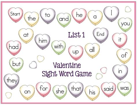 printable sight word board games 81 best images about valentine s day on pinterest heart