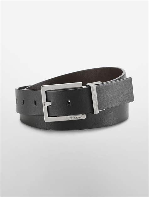 calvin klein reversible pebble textured leather belt in