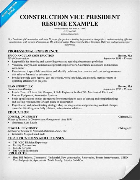 Resume Exles Construction Industry Construction Estimators Resume Sle Resumecompanion Resume Sles Across All