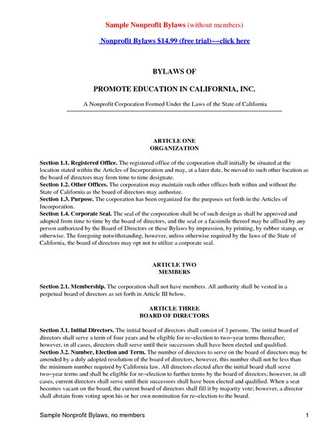 Free Nonprofit Bylaws Template by Sle Bylaws And Templates Templates And Sles