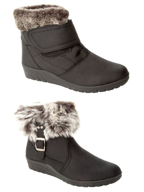 target womens snow boots womens black snow wide fit fur lined warm winter