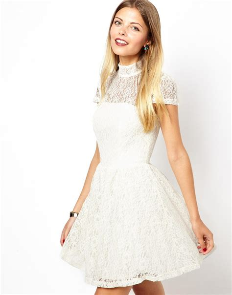 Hi Neck Lace Dress 8994 lyst asos lace high neck prom dress in