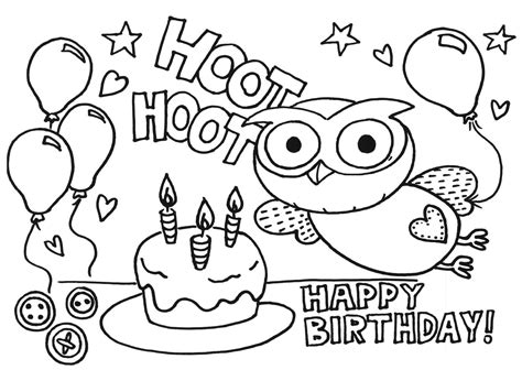 owl birthday coloring page happy birthday coloring pages only coloring pages