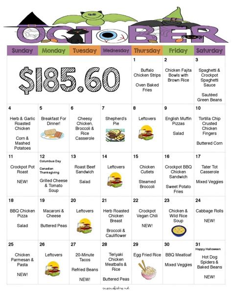 monthly meal plan template 69 infantry