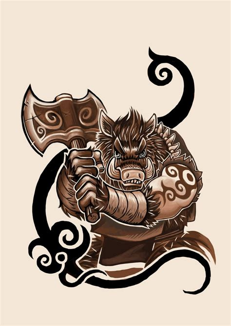 muscular brown pig warrior with tribal black elements