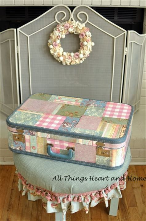 vintage suitcase mod podge all things and home