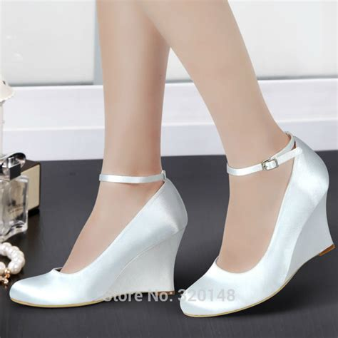 Suplier Wedges Heels aliexpress buy a610 ivory wedges shoes toe satin ankle 3 5 quot wedges heels