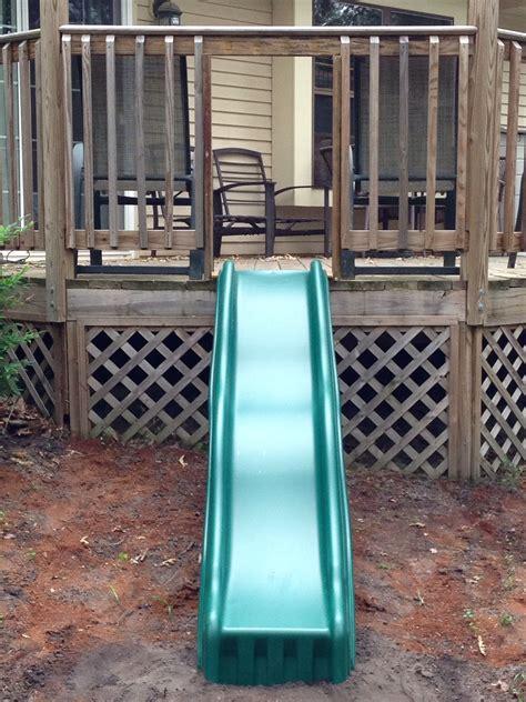 sliding board   deck outdoor diy projects backyard