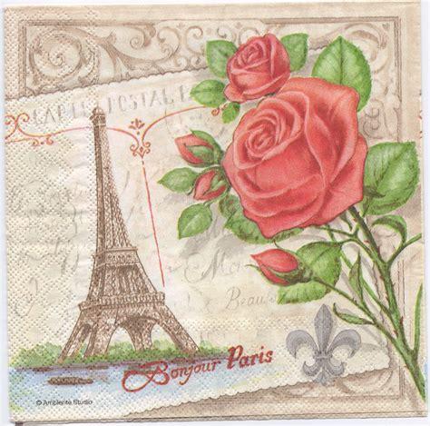 Paper Napkin Decoupage - decoupage paper napkins eiffel tower roses chn00198 1
