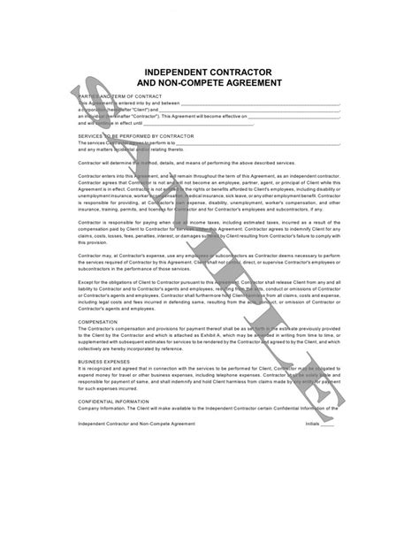 contractor non compete agreement template independent contractor and non compete agreement